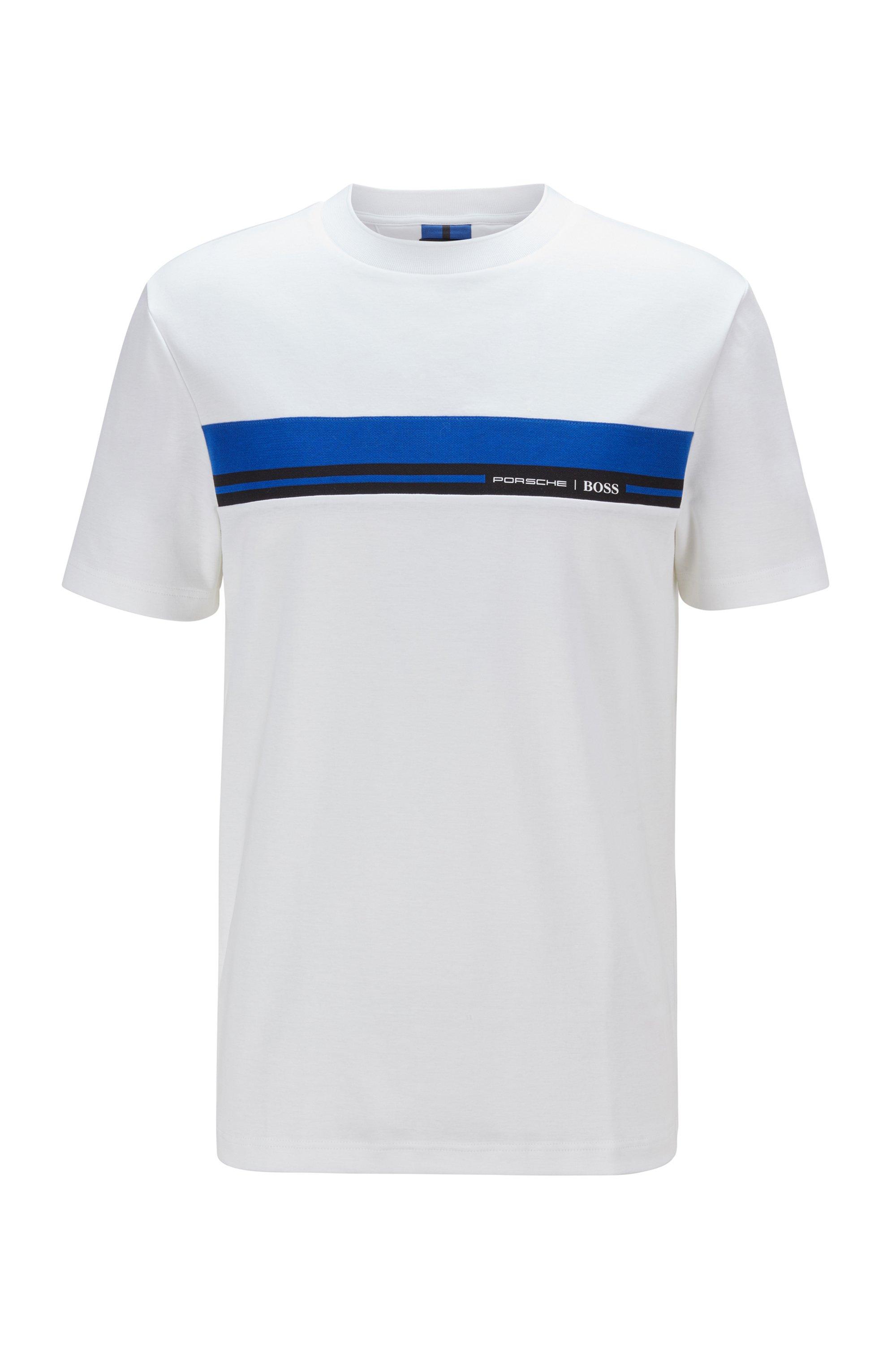 T-Shirt aus Baumwolle mit Rundhalsausschnitt und Print der Kollektion, Weiß