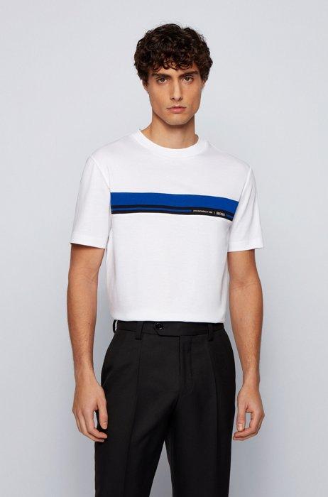 T-shirt en coton à col rond avec imprimé emblématique de la collection, Blanc