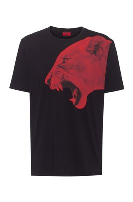 Regular-fit T-shirt in cotton with statement artwork, Black