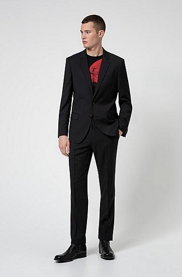 个性艺术风装饰常规版型棉 T 衬衫,  001_黑色