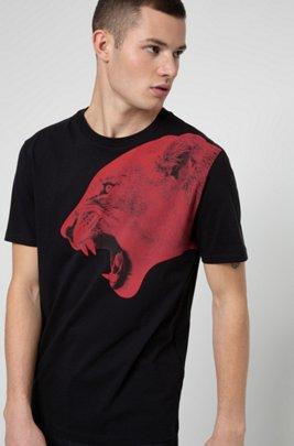 Regular-fit T-shirt in cotton with statement artwork, Black