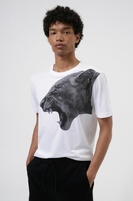 Regular-fit T-shirt in cotton with statement artwork, White