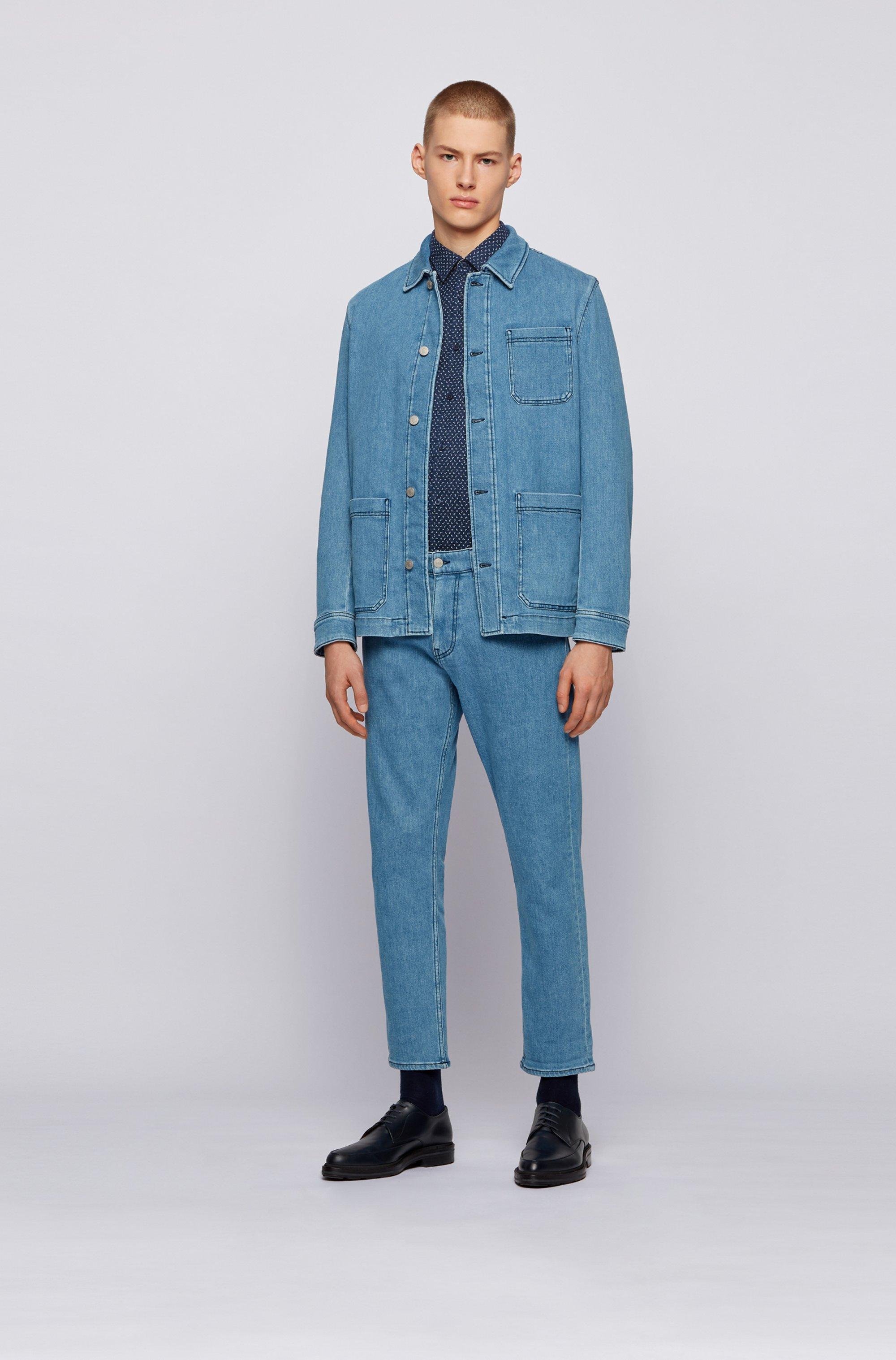 Camicia slim fit a motivi in lino elasticizzato