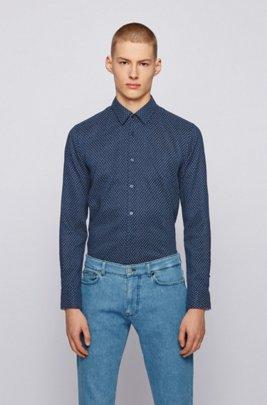 Patterned slim-fit shirt in stretch linen, Blue Patterned