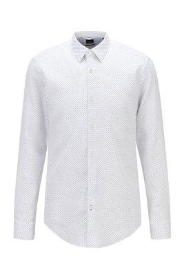 Chemise Slim Fit en lin stretch à motif, Blanc à motif