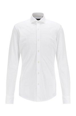 Slim-Fit Hemd aus Baumwoll-Jersey mit Cutaway-Kragen, Weiß