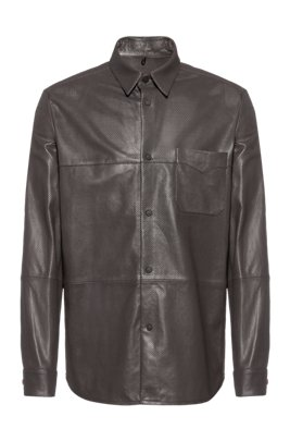 Regular-fit shirt in perforated leather with patch pocket, Dark Grey