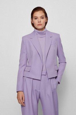 Regular-fit jacket in Italian broken-twill wool, Light Purple