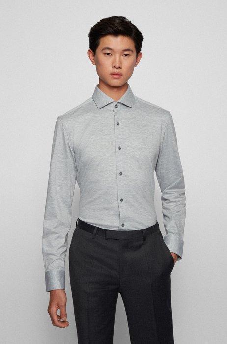 Slim-fit shirt in melange cotton jersey, Light Grey