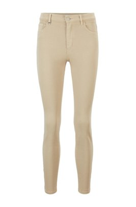Skinny-fit jeans in overdyed stretch denim with zipped hems, Beige