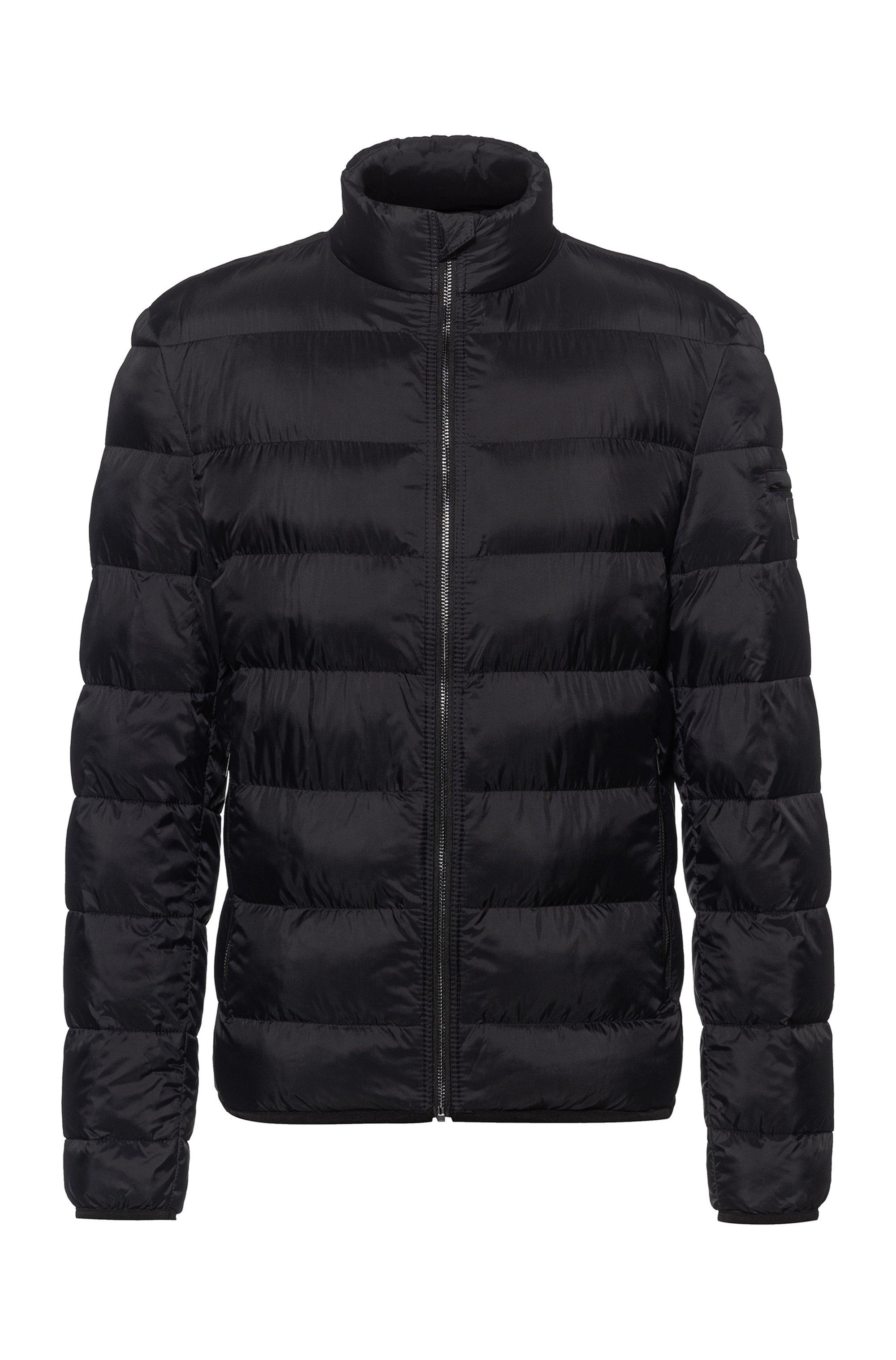 Slim-fit padded jacket with reflective logo badge, Black