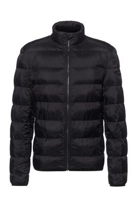 Slim-fit padded jacket with reflective logo badge, Black