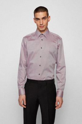 Easy-iron regular-fit shirt in micro-structured cotton, Light Brown