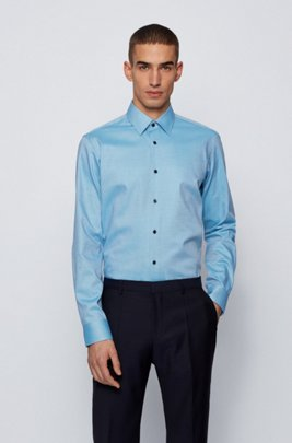 Easy-iron regular-fit shirt in micro-structured cotton, Turquoise