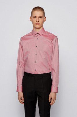 Easy-iron regular-fit shirt in micro-structured cotton, Red