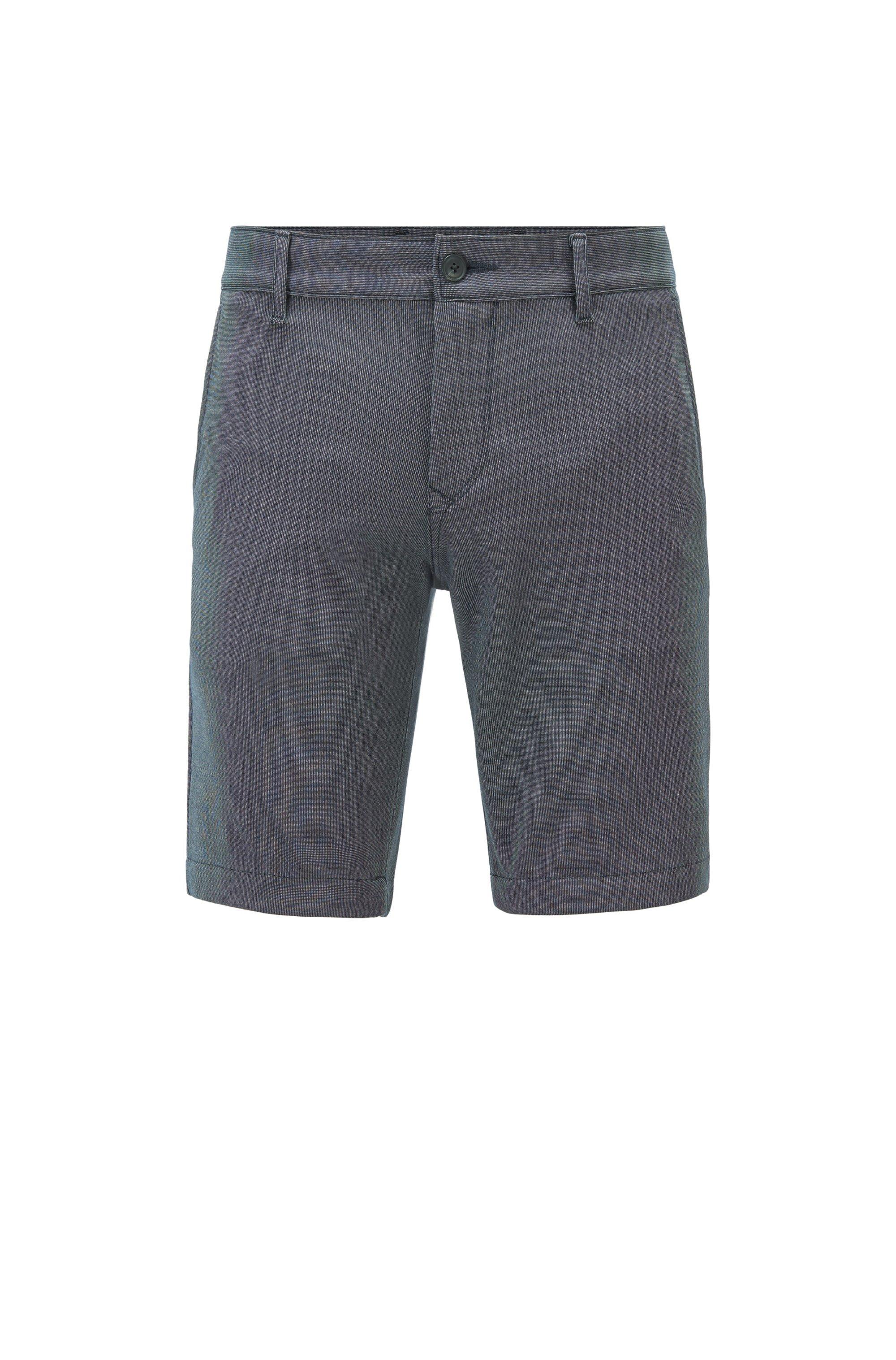 Filigran gemusterte Slim-Fit Shorts aus Stretch-Gewebe, Dunkelblau