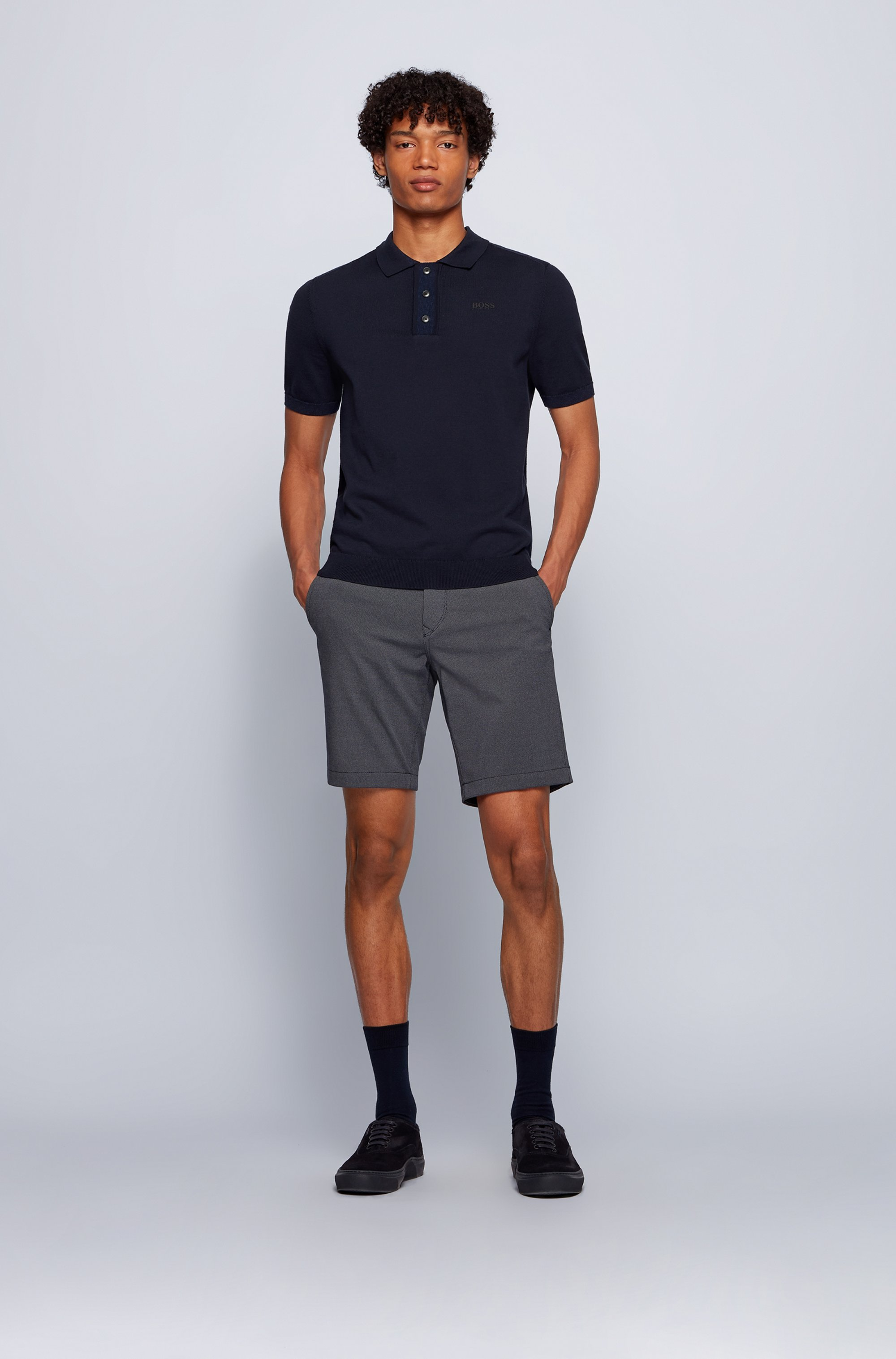 Slim-fit shorts in micro-patterned stretch fabric