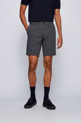 Slim-fit shorts in micro-patterned stretch fabric, Dark Blue