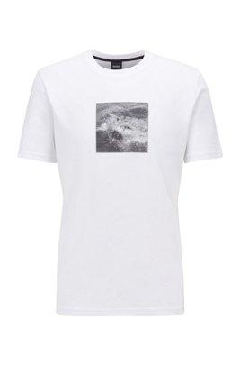 T-Shirt aus Baumwoll-Jersey mit aufgedrucktem Haifisch-Foto, Weiß