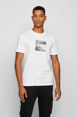 Cotton-jersey T-shirt with photographic shark print, White