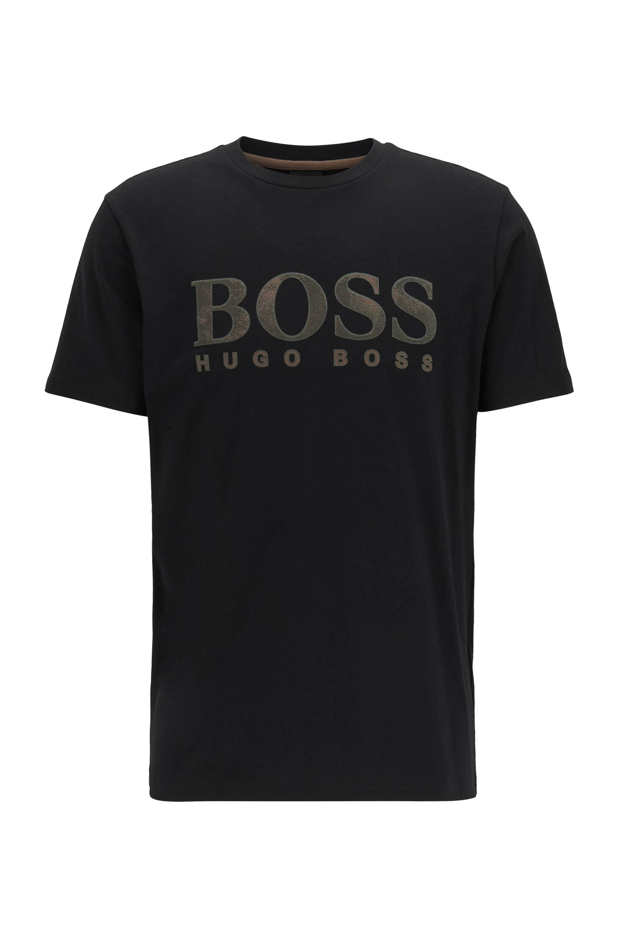 Cotton T-shirt with mixed-print logo, Black