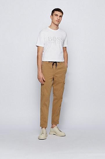 混合印花徽标棉质 T 恤,  101_Natural