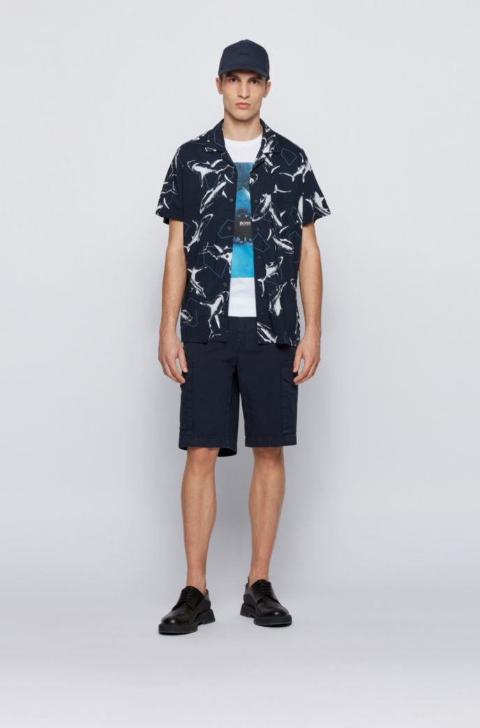 Cotton-jersey T-shirt with underwater print