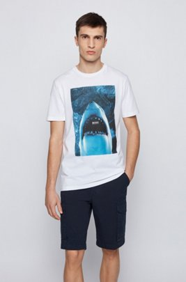 Cotton-jersey T-shirt with underwater print, White