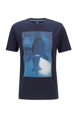 T-shirt en jersey de coton avec imprimé scène sous-marine, Bleu foncé