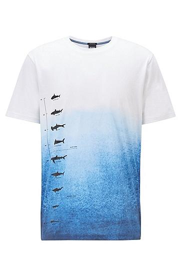 系列主题印花皮马棉渐变色 T 恤,  100_白色