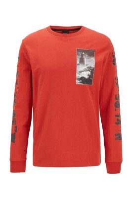 Long-sleeved relaxed-fit T-shirt with coastal prints, Red