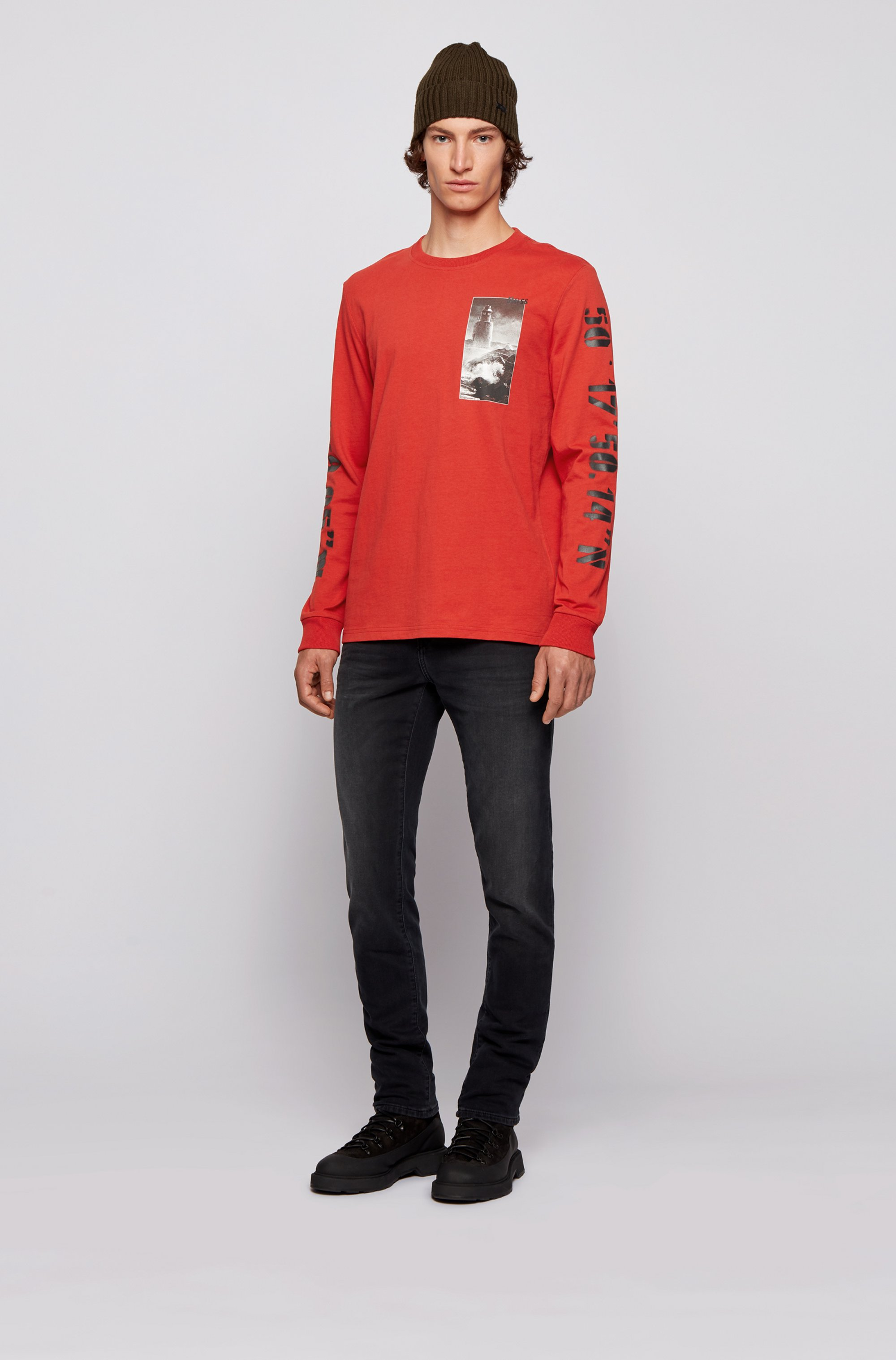Long-sleeved relaxed-fit T-shirt with coastal prints