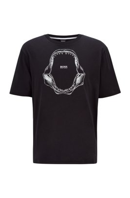 Pima-cotton relaxed-fit T-shirt with shark-jaw print, Black