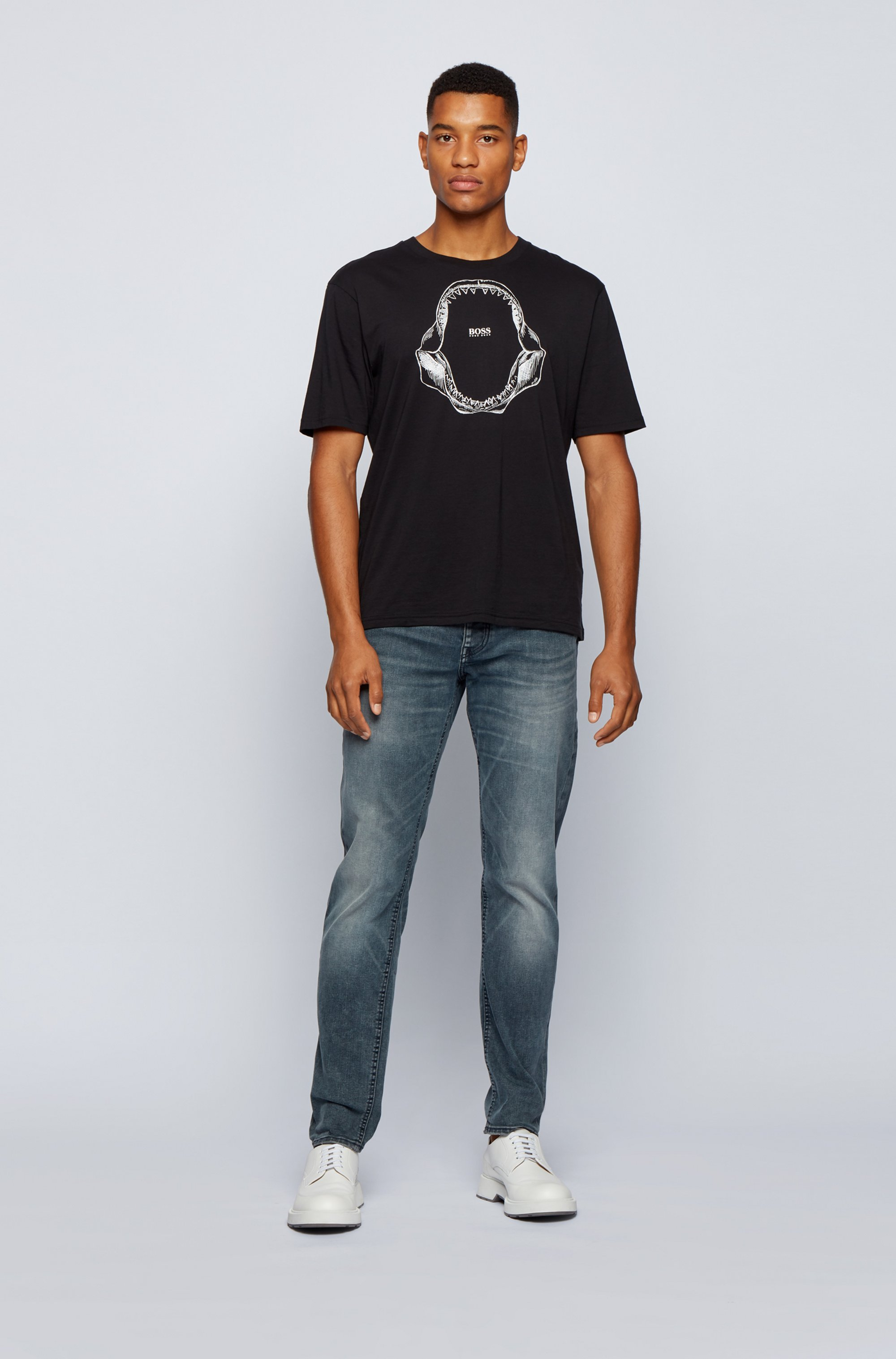 Pima-cotton relaxed-fit T-shirt with shark-jaw print