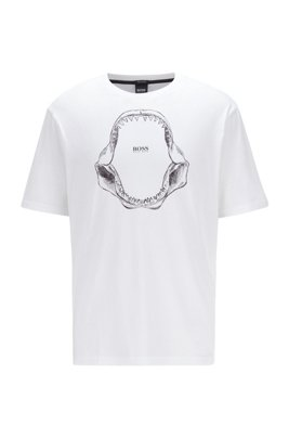 Pima-cotton relaxed-fit T-shirt with shark-jaw print, White