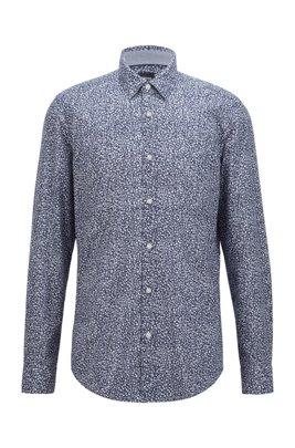Camicia regular fit in cotone effetto lavato con motivo esclusivo, Blu a motivi