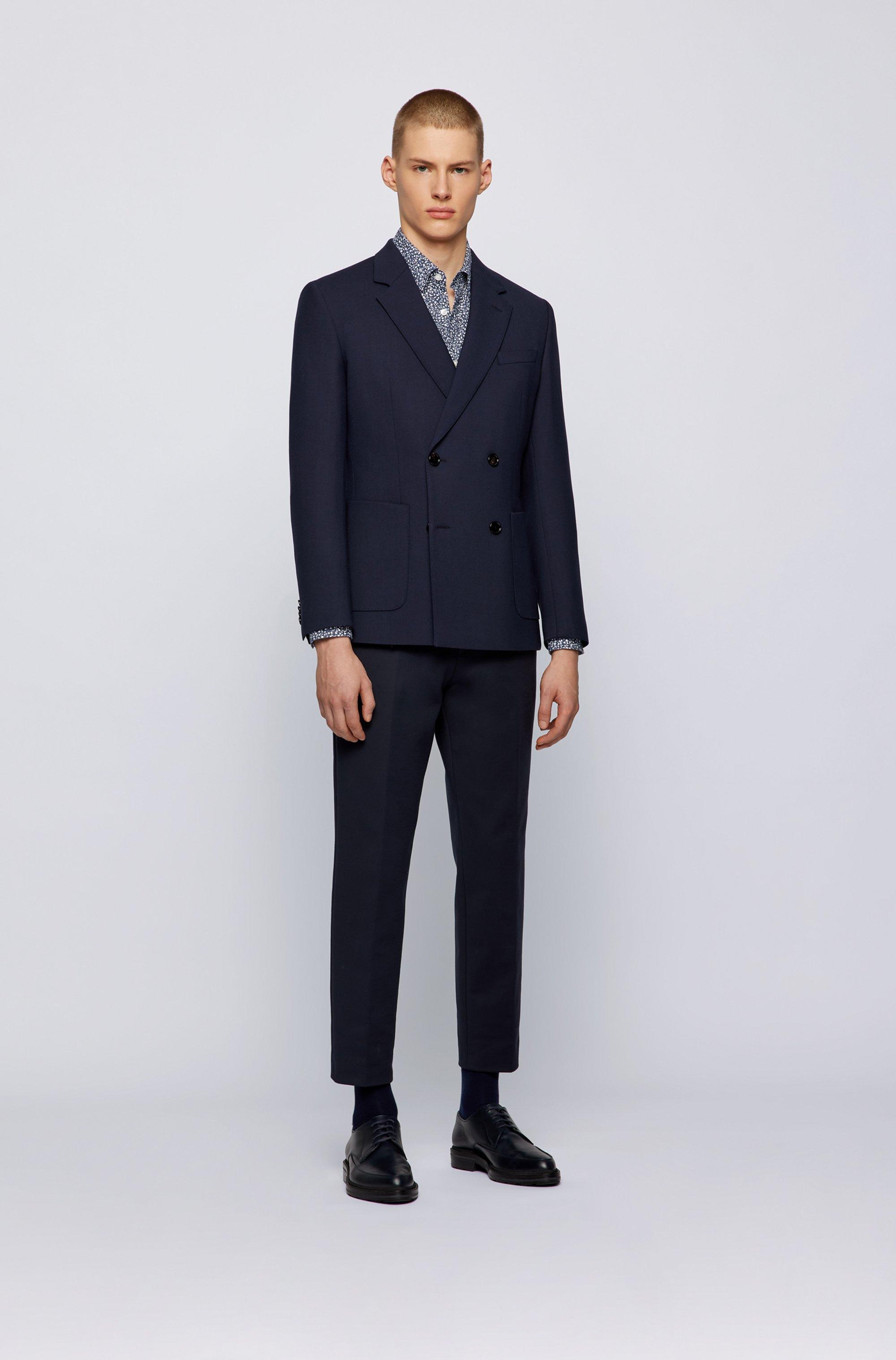 Camicia regular fit in cotone effetto lavato con motivo esclusivo