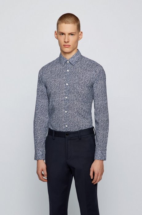 Regular-fit shirt in washed cotton with exclusive pattern, Blue Patterned