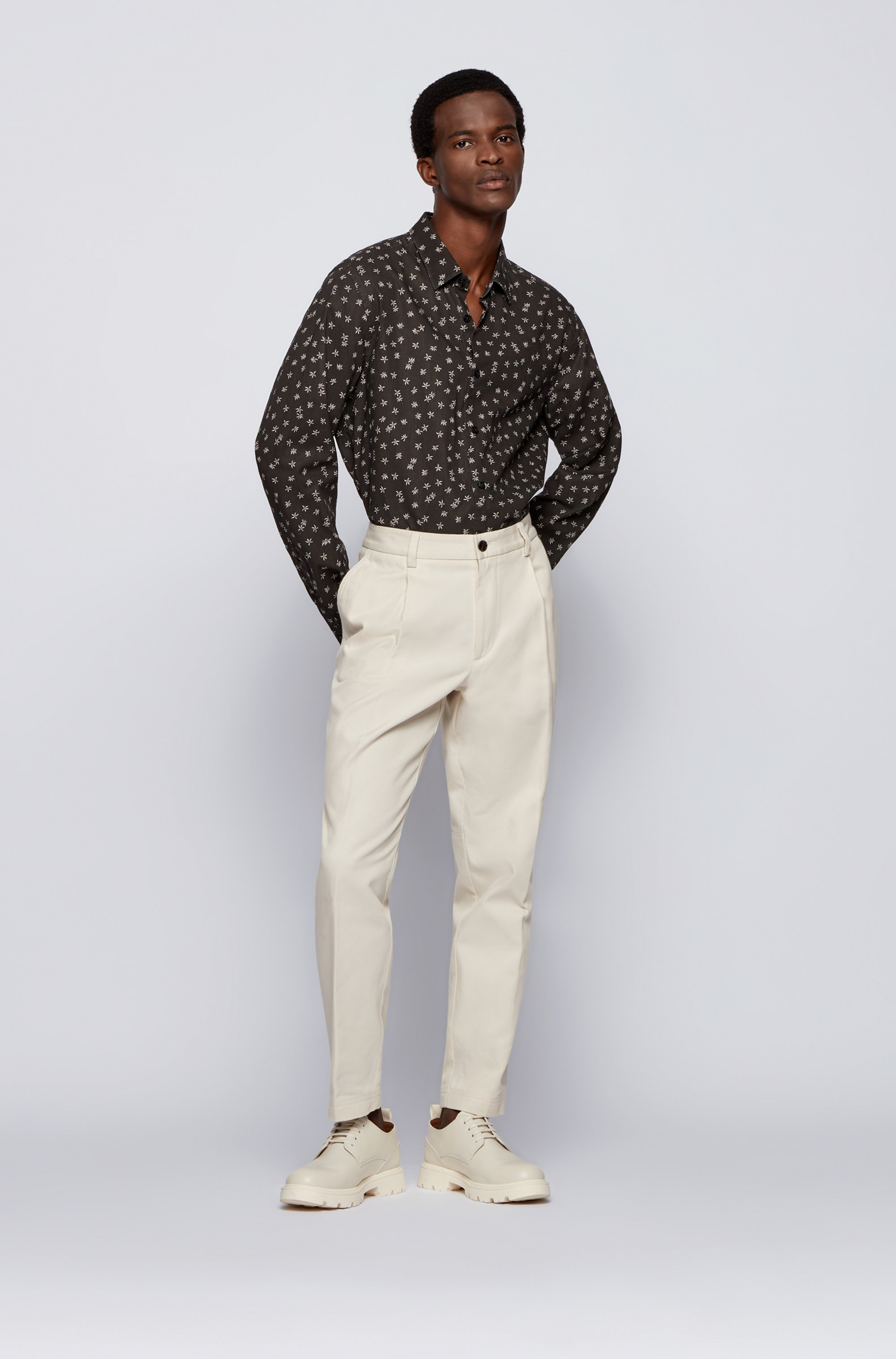 Regular-fit shirt in floral-print linen and cotton