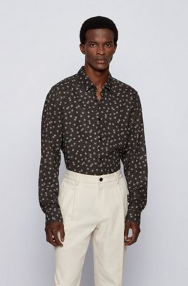 Regular-fit shirt in floral-print linen and cotton, Black