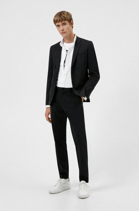 Extra-slim-fit packable suit in high-performance fabric, Black
