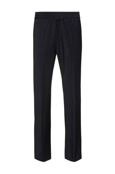 Pantalon Extra Slim Fit en laine mélangée, Noir
