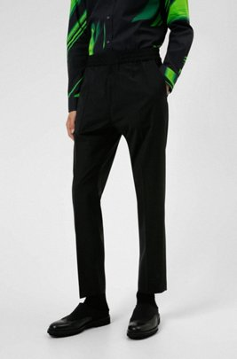 Extra-slim-fit trousers in a wool blend, Black