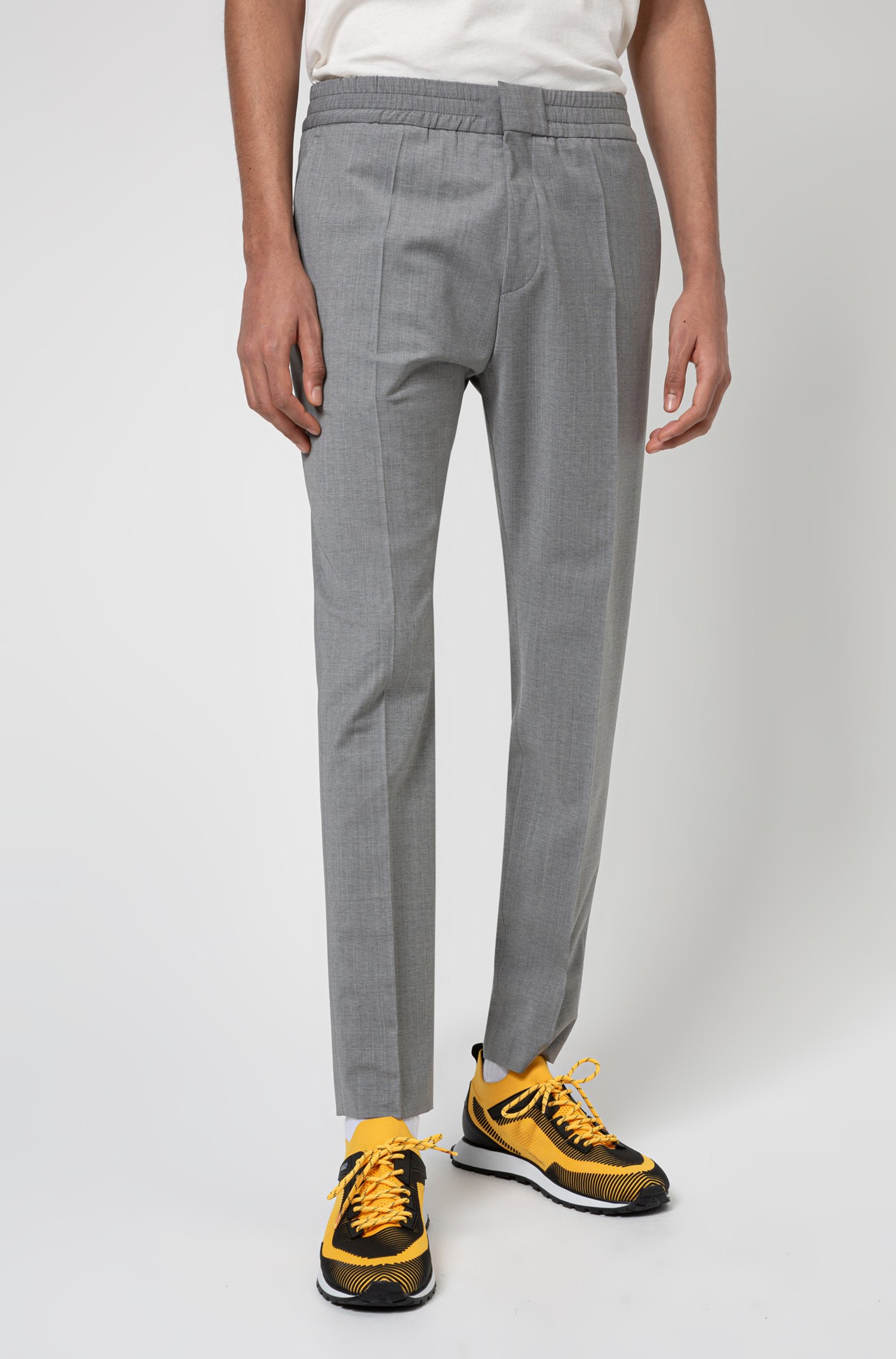 Extra-slim-fit trousers in a wool blend, Dark Grey