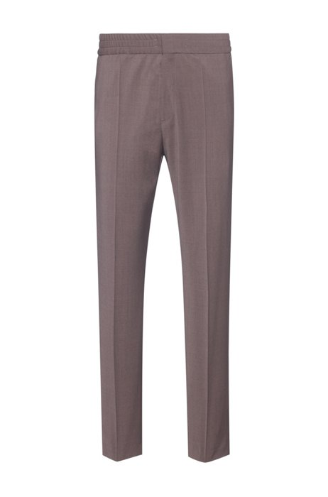 Pantalon Extra Slim Fit en laine mélangée, Brun chiné