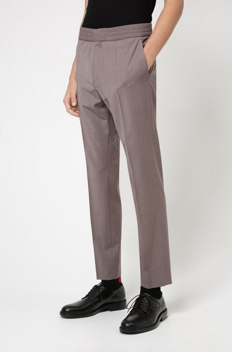 Extra-slim-fit pants in a wool blend, Light Brown