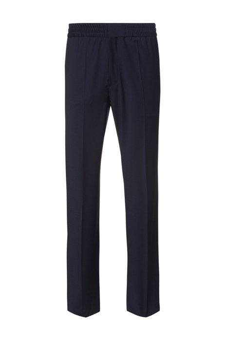 Pantalon Extra Slim Fit en laine mélangée, Bleu foncé