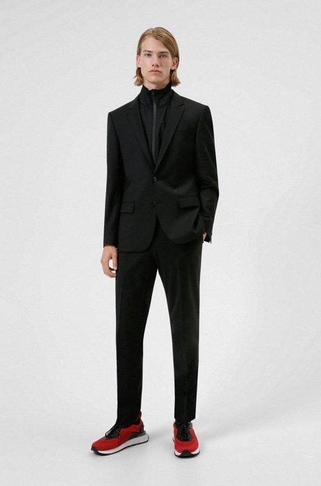 Slim-Fit Anzug aus Funktionsgewebe mit Schurwolle, Schwarz