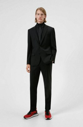 Slim-fit suit in wool-rich performance-stretch cloth, Black