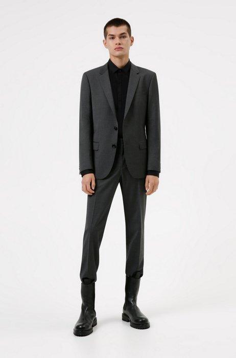 Slim-fit suit in wool-rich performance-stretch cloth, Dark Grey